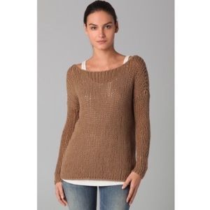 vince loose string knit brown crew neck sweater